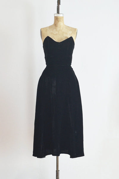 Selene Black Velvet Dress - Pickled Vintage