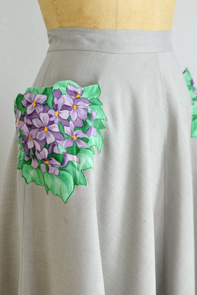 50s Floral Patch Skirt - Pickled Vintage