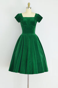50s Green Velvet Dress - Pickled Vintage