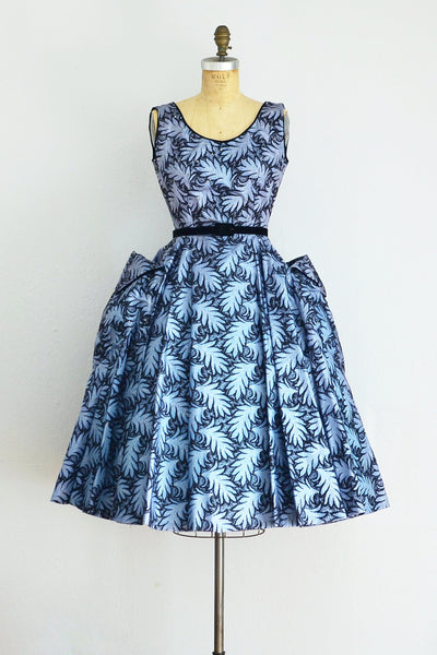 50s Flocked Taffeta Dress - Pickled Vintage