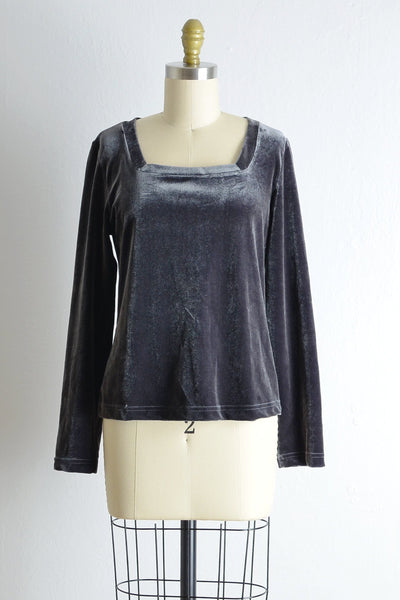 Vintage Gunmetal Velvet Top - Pickled Vintage