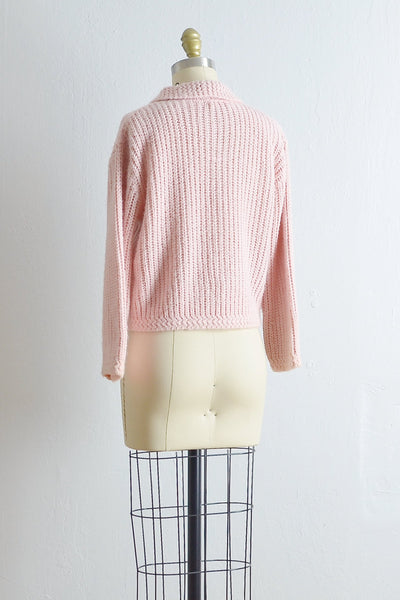 1950s Pink Woven Cardigan Sweater - Pickled Vintage