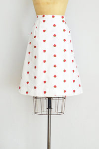 Strawberry Embroidered Skirt - Pickled Vintage