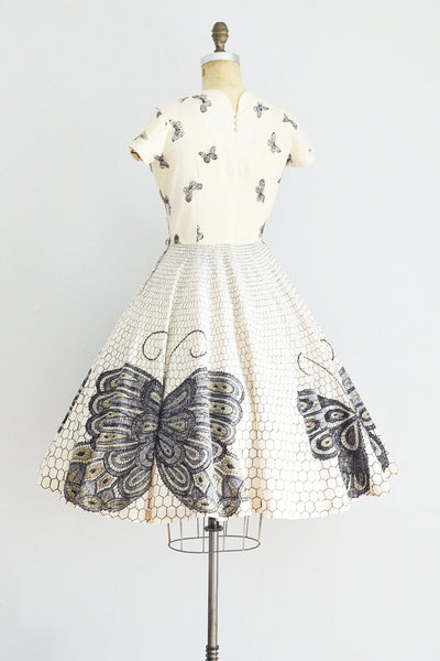 Butterfly Print Dress - Pickled Vintage