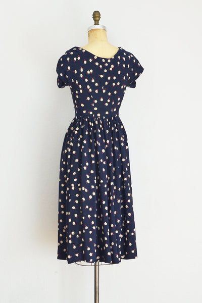 40s Navy Blue Silk Dress - Pickled Vintage