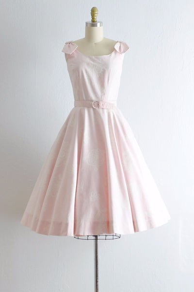 Vintage 1950s Stencil Floral Pink Dress - Pickled Vintage