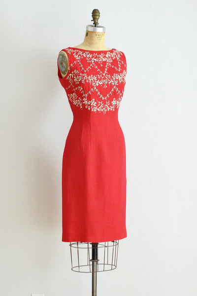 50s Red Wiggle Dress - Pickled Vintage