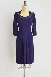 40s Beaded Purple Dress - Pickled Vintage