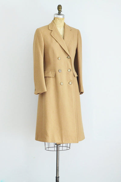Double Breasted Camel Brown Coat - Pickled Vintage
