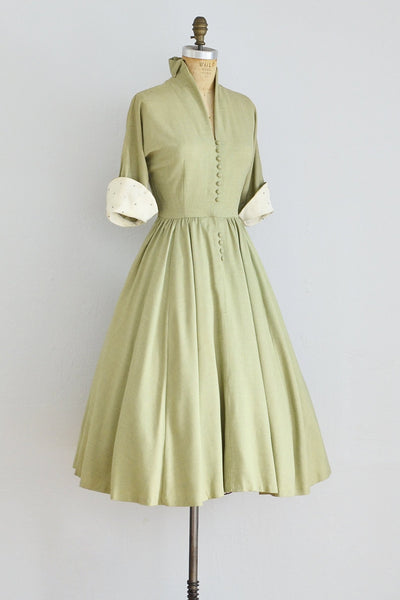 40s Dusty Green Dress - Pickled Vintage