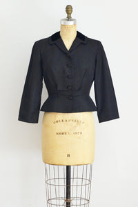 1950s Black Faille Jacket - Pickled Vintage