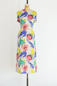 1930s Watercolor Silk Dress - Pickled Vintage