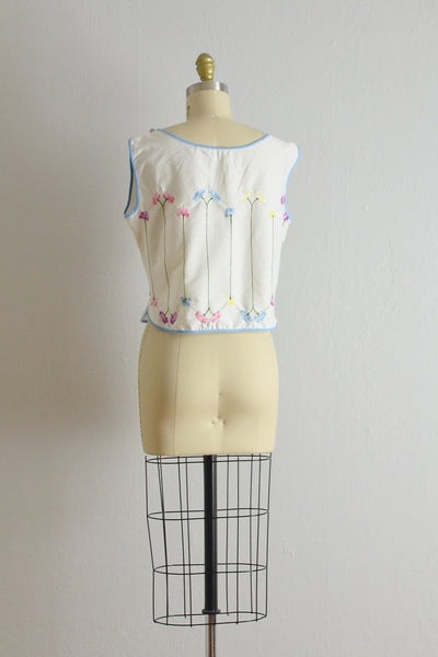 1960s Embroidered Crop Top - Pickled Vintage