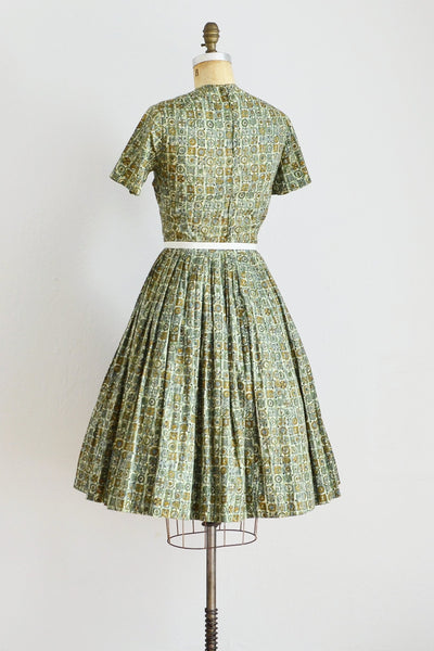 50s Printed Green Dress - Pickled Vintage
