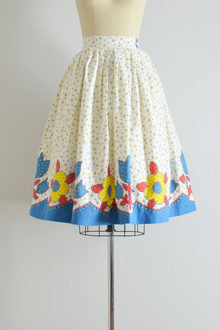 1950s Border Print Skirt - Pickled Vintage