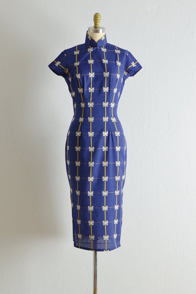 1950s Bows For Days Cheongsam - Pickled Vintage