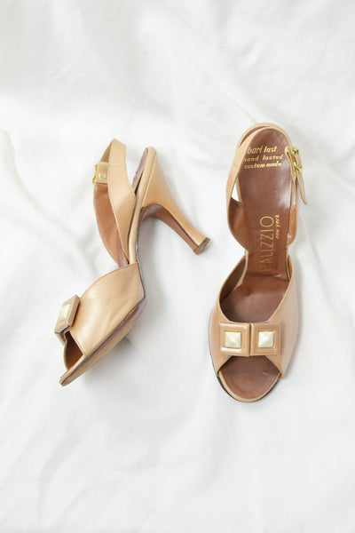 Slingback Peep Toe Heels - Pickled Vintage
