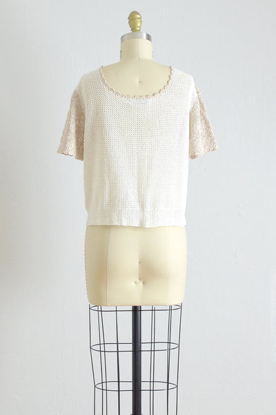 50s Hand Crocheted Victory Blouse - Pickled Vintage