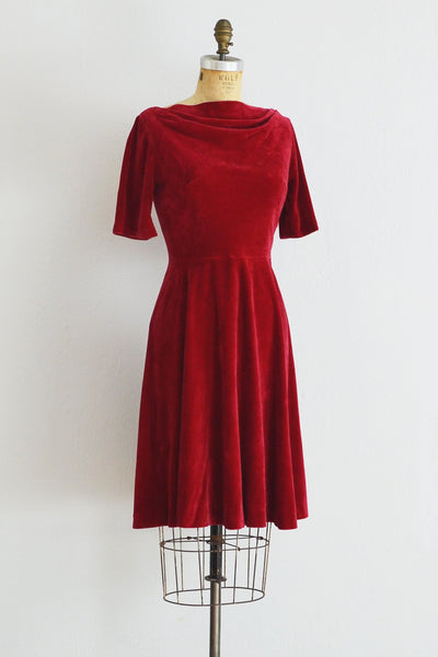 50s Red Velvet Dress - Pickled Vintage