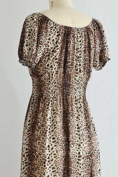 70s Leopard Print Smocked Dress - Pickled Vintage