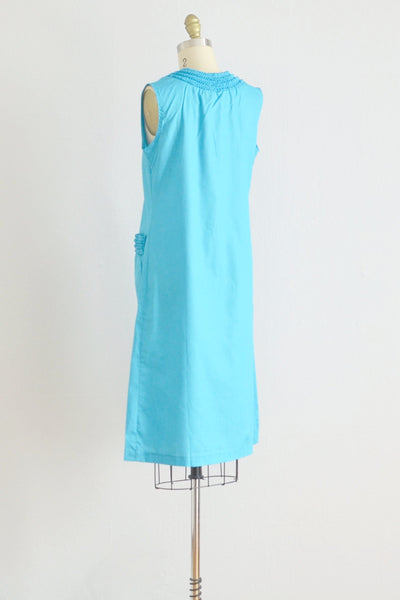 50s Blue Ruffled Housedress - Pickled Vintage