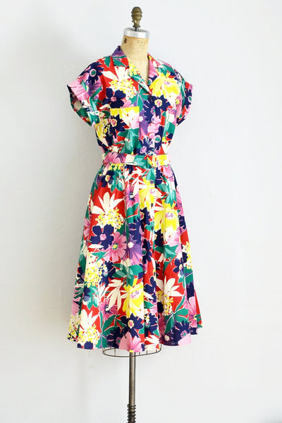 Vibrant Floral Print Dress - Pickled Vintage