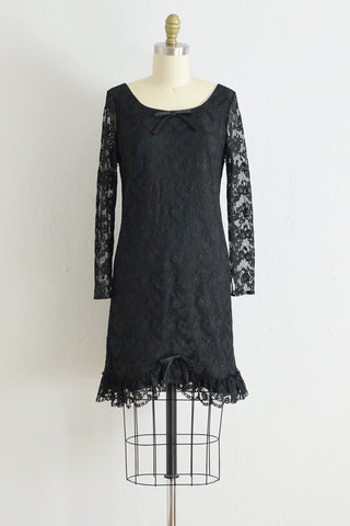 60s Black Lace Party Dress - Pickled Vintage