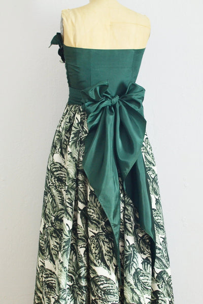 40s Green Strapless Dress - Pickled Vintage