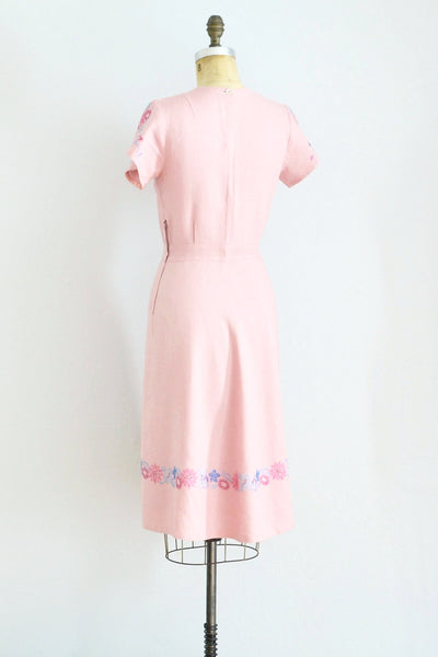 Pink Linen Dress - Pickled Vintage