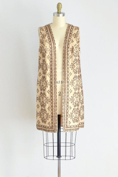 Vintage 1960s Gold Lurex Beaded Spring Coat