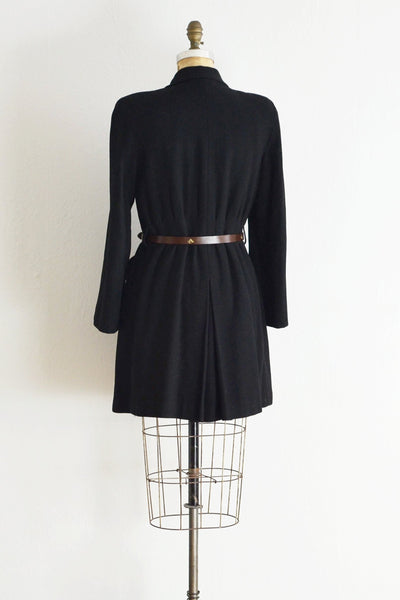 1940s Black Wool Coat - Pickled Vintage