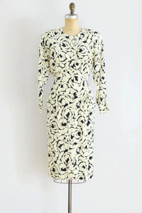 80s Hanae Mori Silk Dress - Pickled Vintage