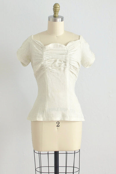 40s Scallop Lurex Blouse - Pickled Vintage