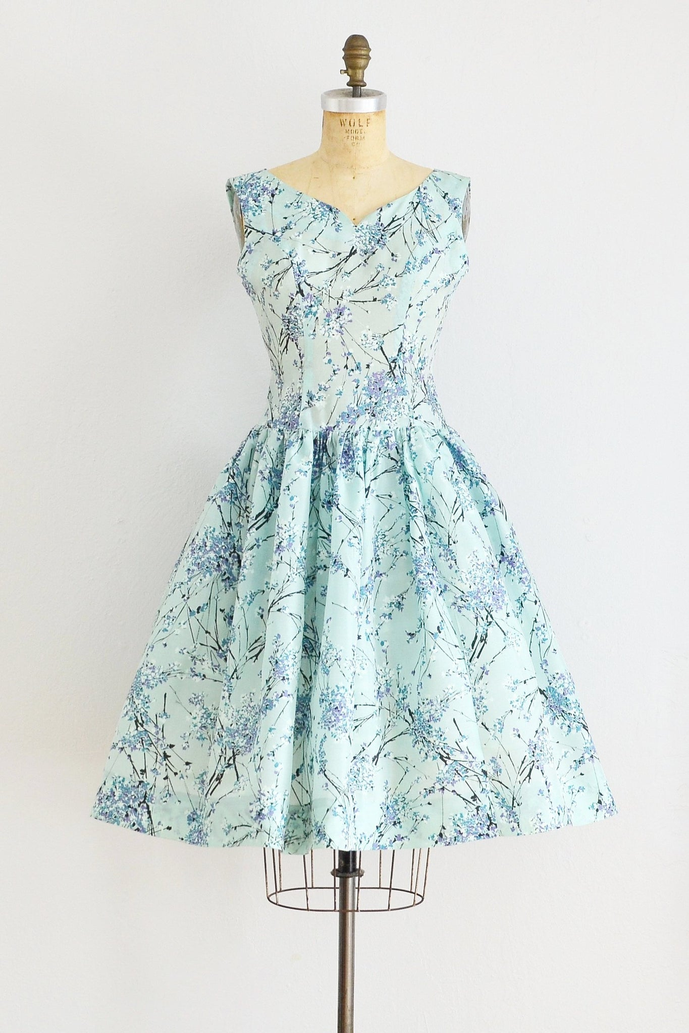 Aqua Printed Dress - Pickled Vintage
