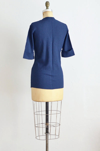Navy Blue Knit Top - Pickled Vintage