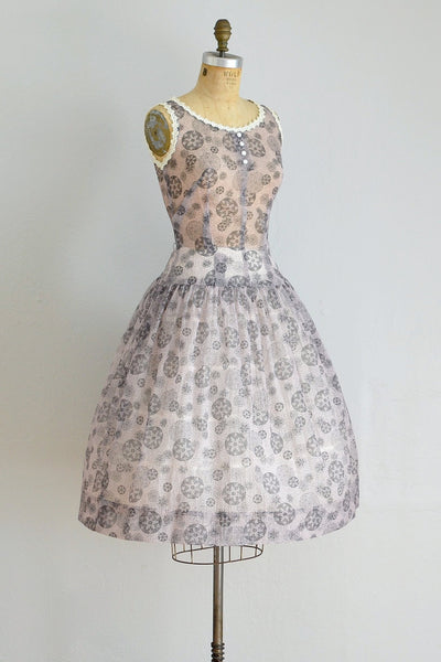 50s Medallion Crinkle Dress - Pickled Vintage