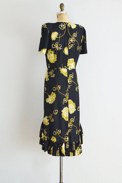 40s Gold Scroll  Dress - Pickled Vintage
