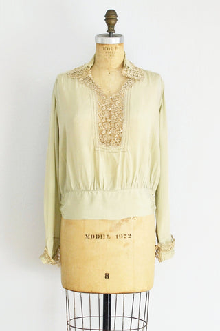 1920s Softened Green Silk Top - Pickled Vintage