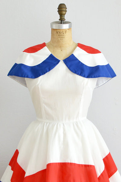 60s Sailor Capelet Collar Dress - Pickled Vintage