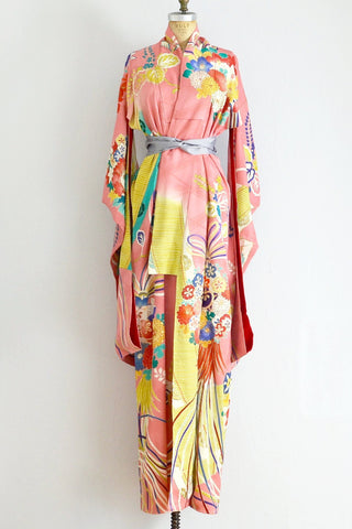 30s Peach Embroidered Kimono - Pickled Vintage