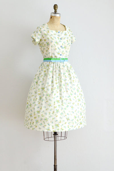 Swiss Dot n' Floral Dress - Pickled Vintage