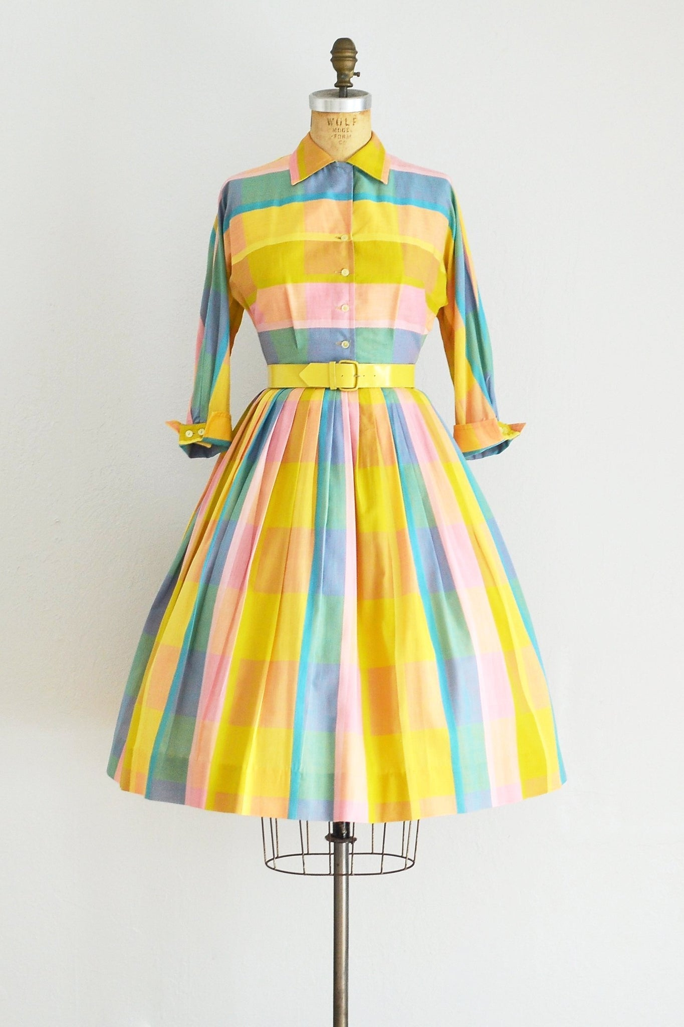 1950s Box Plaid Dress - Pickled Vintage