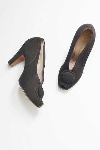 40s Chocolate Shoes - Pickled Vintage