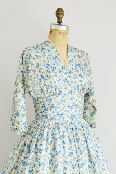 1950s Blue Floral Print Dress - Pickled Vintage