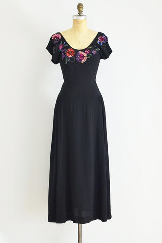 1940s Glam Evening Dress - Pickled Vintage