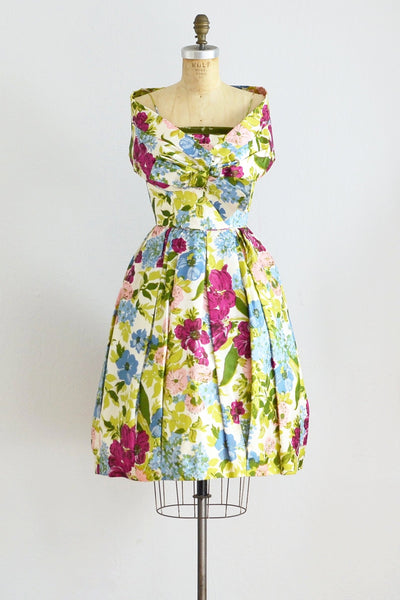 50s Silk Floral Print Dress - Pickled Vintage