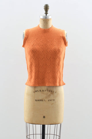 1960's Orange Sleeveless sweater - Pickled Vintage