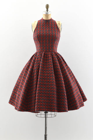 1950s Plaid Quilted Dress - Pickled Vintage