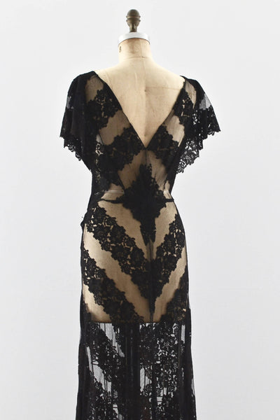 1930's Vampy Lace Dress - Pickled Vintage