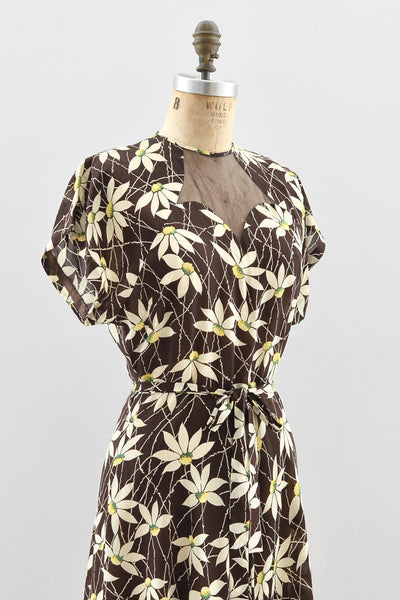 1940s Daisy Print Sheer Dress - Pickled Vintage